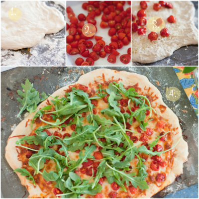 Brie + Roasted Tomato + Arugula Summer Pizza