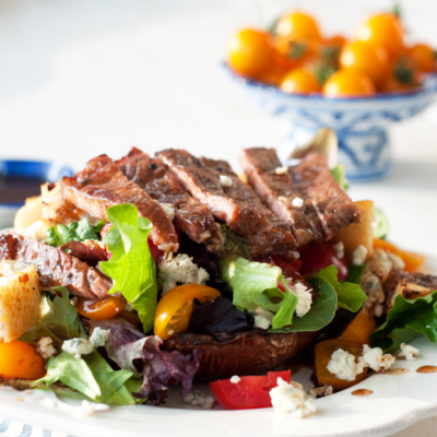 Grilled Balsamic Portobello Mushroom & Steak Salad