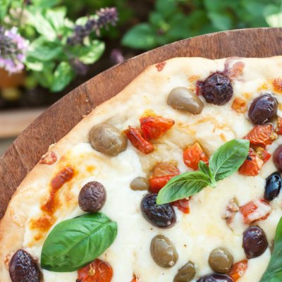 Bread, Cheese and Olives {A Pizza From Heaven}