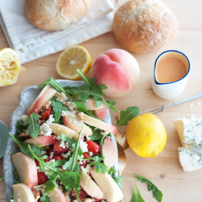Gorgonzola, Peach, Arugula Salad with Summer Fruit Vinaigrette {with or without steak!}