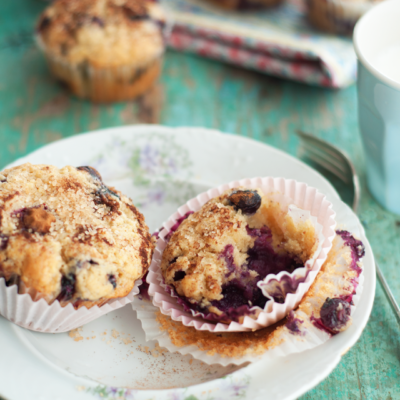 Blueberry Lemon Yogurt Muffins with Cinnamon Sugar Topping
