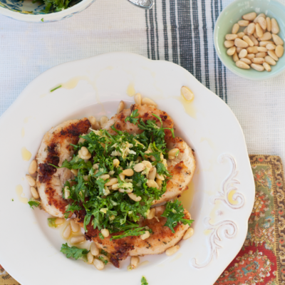 Parmesan Chicken with Pine Nut Gremolata