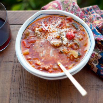 Spicy Chorizo Vegetable Soup & Warm Goat Cheese Infused Olive Oil