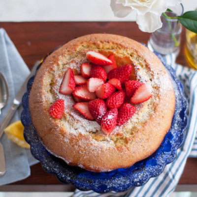 Lemon Yogurt Bundt Cake with Poppyseeds & Strawberries