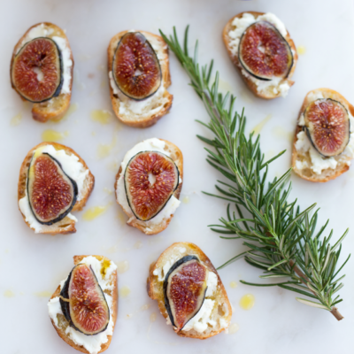 Warm Fig and Goat Cheese Crostini Drizzled in Honey and Extra Virgin Olive Oil