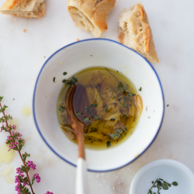 Roasted Garlic & Herb Infused Olive Oil + a Simple Cheese Board