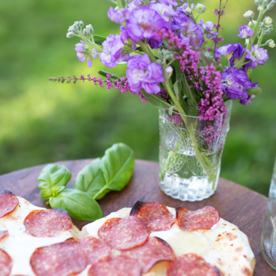 Brie, Mozzarella & Salami Heart Pizza