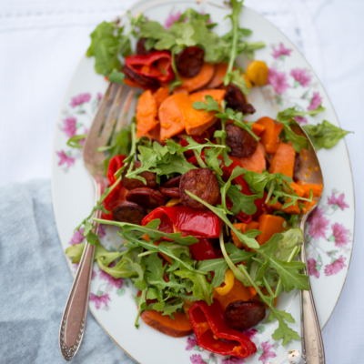 Roasted Peppers & Sweet Potatoes with Crispy Chorizo