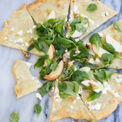 White Garlic Pizza with Apple and Walnut Salata in Sweet White Wine Vinaigrette