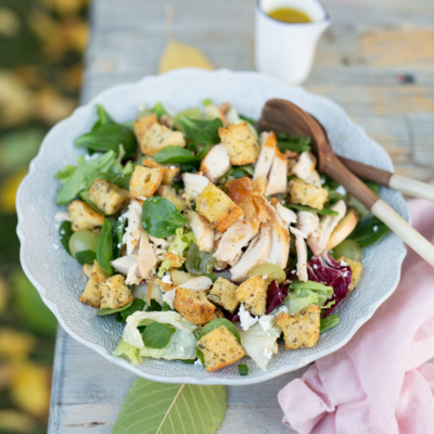 A Big ol' Delicious Harvest Salad with Apple Cider Vinaigrette