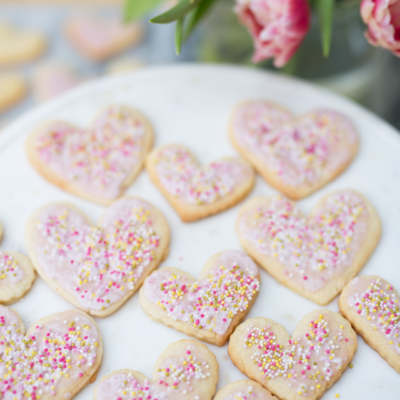Valentine's Cut-Out Cookies with Pomegranate Glaze