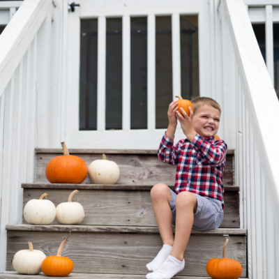 Our Front Porch Ready for Fall (Thanks to Our Four Year Old!)