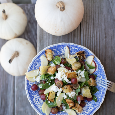 Farm Salad with Creamy Goat Cheese, Grapes, Apples, Homemade Croutons & Apple Cider Vinaigrette