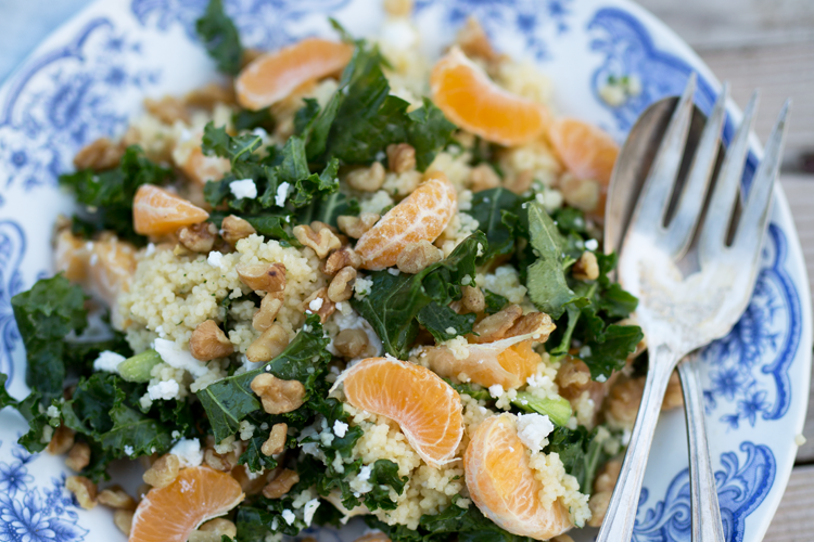 Citrus, Kale & Goat Cheese Cous Cous with Dijon Apricot Chicken
